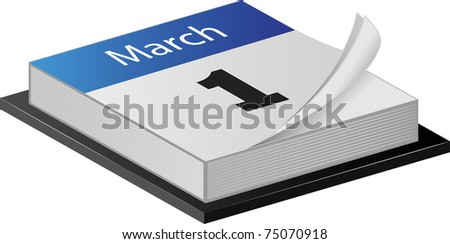 March Calender illustration on white - stock photo