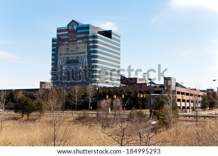 March 24. 2014. Chrysler Headquarters and Technology Center in Auburn Hills, Michigan. USA. - stock photo