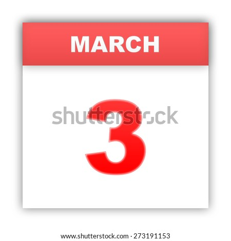 March 3. Day on the calendar. 3d - stock photo