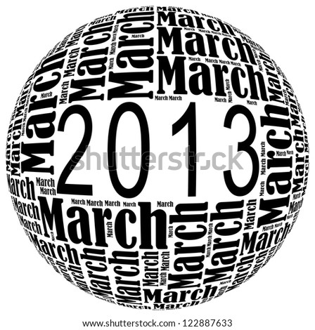 March 2013 info-text graphics arrangement on white background - stock photo