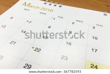 March on calendar 2016 - stock photo