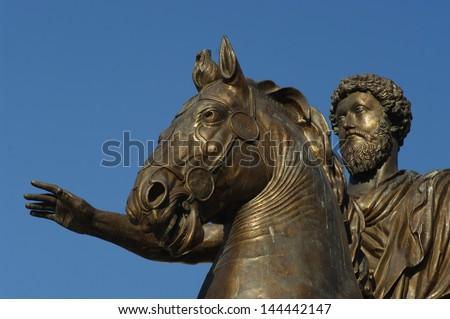 Marcus Aurelius in Piazza del Campidoglio in Rome - stock photo