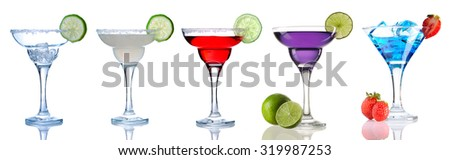 Margarita and Daiquiri cocktail collection isolated on white - stock photo