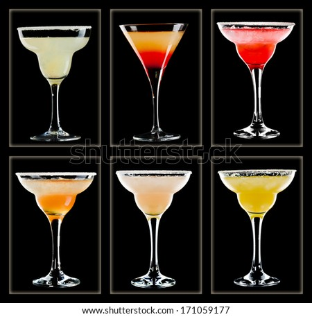 Margarita cocktail collection isolated on black background  - stock photo