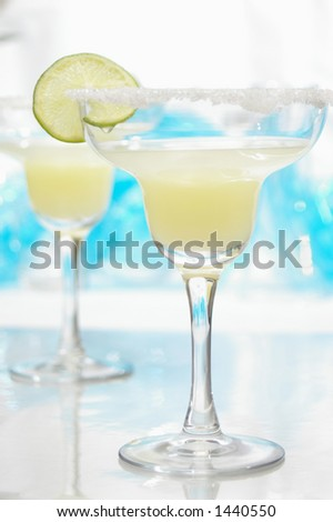 Margarita with salt and lime. - stock photo