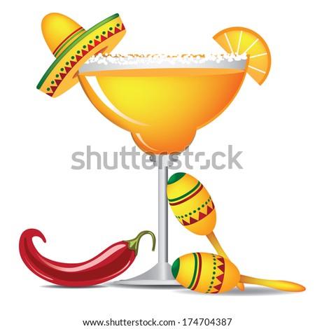 Margarita with sombrero, jalapeno and maracas - stock photo