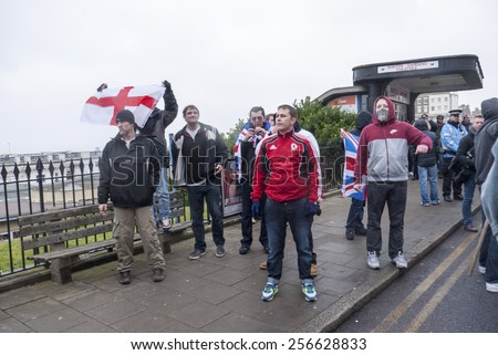 MARGATE, UK-FEBRUARY 28: Right wing protestors, challenge the Anti UKIP demonstrators on the march to UKIP'S conference at Margate's Winter Gardens. February 28, 2015 in Margate, Kent, UK. - stock photo