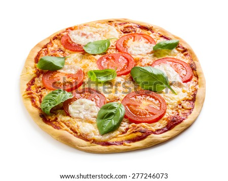 Margherita pizza isolated over white background - stock photo