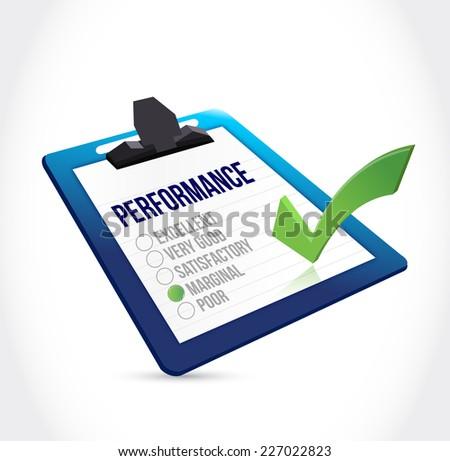 marginal performance clipboard checklist illustration design over a white background - stock photo