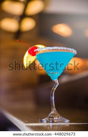 Marguerita drink served at bar - stock photo