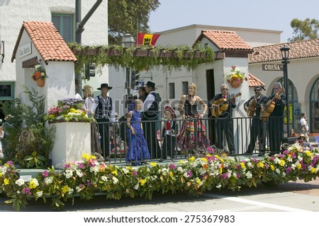 Mariachi Band playing on parade float during opening day parade down State Street, Santa Barbara, CA, Old Spanish Days Fiesta, August 3-7, 2005 - stock photo