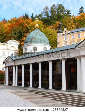 Marianske Lazne Spa, Cross Spring Pavilion. Czech Republic, Europe - stock photo
