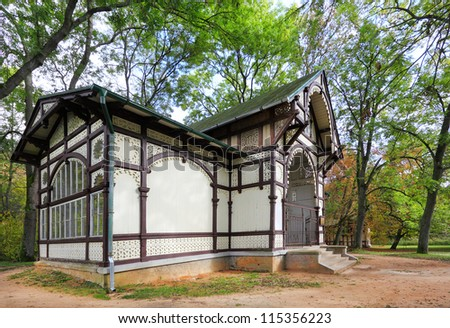 Marianske Lazne Spa, Rudolph's Spring pavilion. Marianske Lazne's fame as a Spa Destination for the treatment of diseases of the urinary tract comes from the Rudolf Spring. Czech Republic, Europe - stock photo