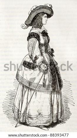 Marie de Bourbon, Duchess of Montpensier (known as Mademoiselle de Montpensier), old engraved portrait. Created by Montigneul, published on Magasin Pittoresque, Paris, 1844 - stock photo