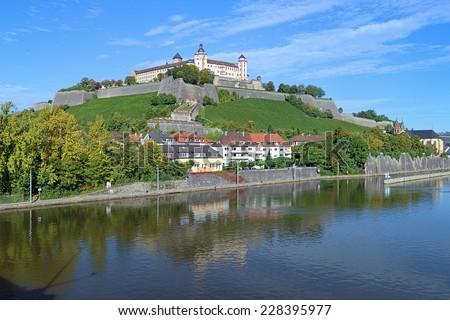 Marienberg Fortress in Wurzburg, view from Ludwigsbruke bridge, Germany - stock photo