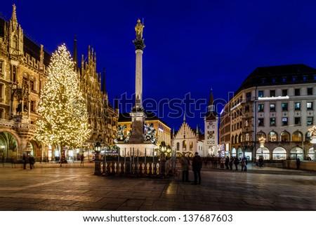 Marienplatz in the Evening, Munich, Bavaria, Germany - stock photo