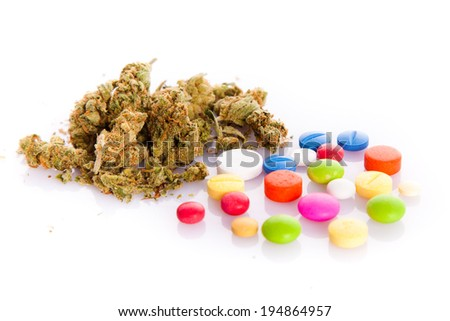 Marihuana, drugs, pills, narcotic - stock photo