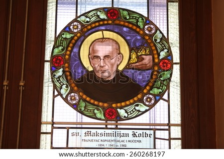MARIJA BISTRICA, CROATIA - JULY 14: Maximilian Kolbe, stained glass window in Basilica Assumption of the Virgin Mary in Marija Bistrica, Croatia, on July 14, 2014 - stock photo
