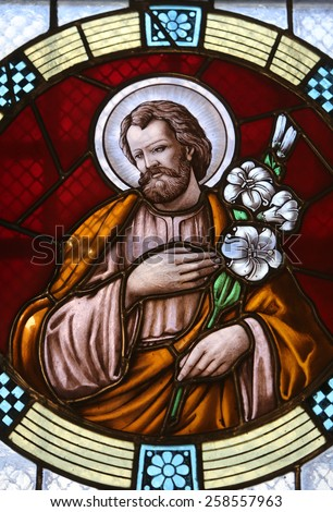 MARIJA BISTRICA, CROATIA - JULY 14: Saint Joseph, stained glass window in Basilica Assumption of the Virgin Mary in Marija Bistrica, Croatia, on July 14, 2014 - stock photo