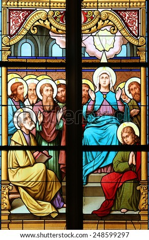 MARIJA BISTRICA, CROATIA - OCTOBER 26: Descent of the Holy Spirit, stained glass window in Basilica Assumption of the Virgin Mary in Marija Bistrica, Croatia, on October 26, 2013 - stock photo