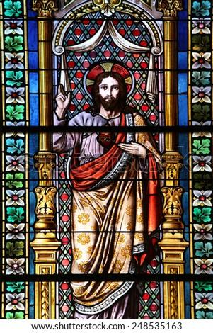 MARIJA BISTRICA, CROATIA - OCTOBER 26: Jesus, stained glass window in Basilica Assumption of the Virgin Mary in Marija Bistrica, Croatia, on October 26, 2013 - stock photo