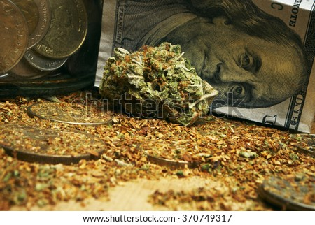 Marijuana and Money from the Legal American Marijuana Drug Business, Cannabis on a Hundred Dollar Bill  - stock photo