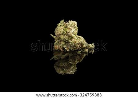 Marijuana bud isolated on black background. Alternative medicine. - stock photo