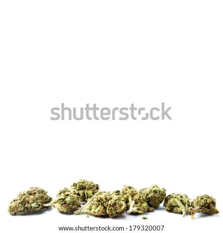 Marijuana Buds Isolated on White Background - stock photo