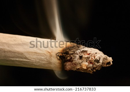Marijuana joint cigarette smoking closeup  - stock photo