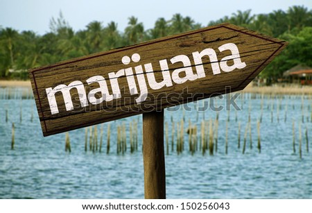 Marijuana wooden sign and the beach as the background - stock photo