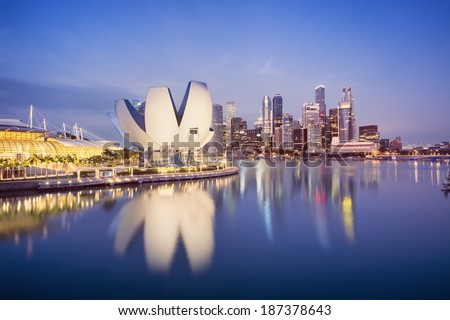 Marina Bay, Singapore. Night image of the Central Business District of Singapore.  - stock photo