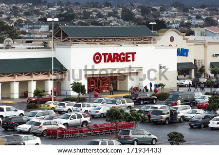 MARINA, CA/USA - DECEMBER 30, 2013: Exterior view of a Target retail store. Target Corporation is a retailing company. It is the second-largest discount retailer in the United States. - stock photo
