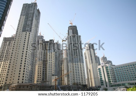 Marina complex under construction in Dubai - stock photo