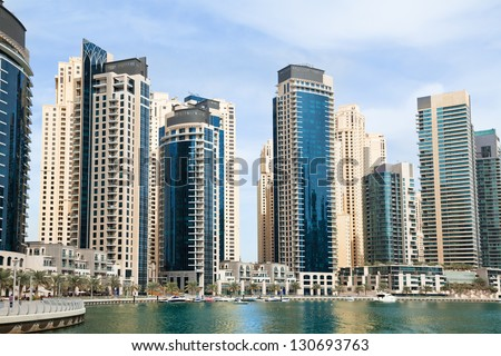 Marina district in Dubai - stock photo