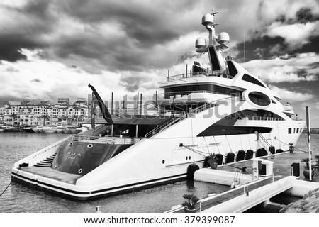 MARINA OF PUERTO BANUS - OCTOBER 2015 - Luxurious yachts in Puerto Banus near Marbella on Costa del Sol, Andalusia, Malaga province, Spain - stock photo