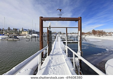 Marina on lake Tahoe covered in snow - stock photo