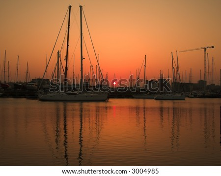 marina sunset landscape - stock photo