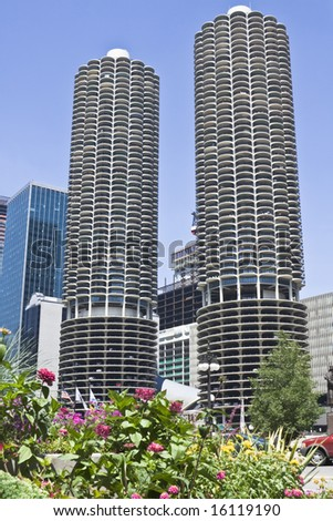 Marina Towers in downtown Chicago - stock photo
