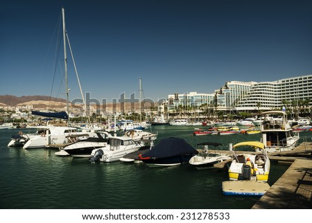 Marina with yachts - stock photo
