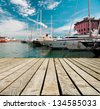 Marina with yachts in Genoa in Italy - stock photo