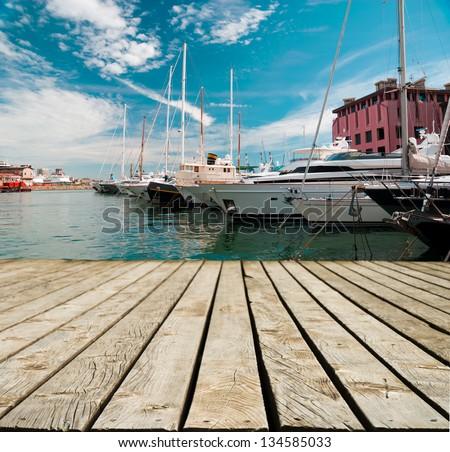 Marina with yachts in Genoa in Italy - stock photo