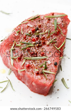 marinated beef steak - stock photo