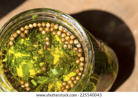 Marinated cheese in olive oil close up - stock photo