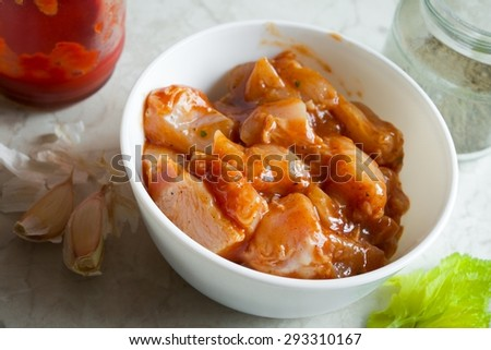 Marinated Chicken Meat Homemade Food - stock photo