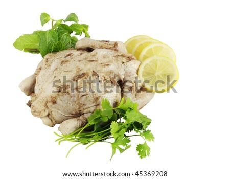 Marinated chicken ready to roast - stock photo