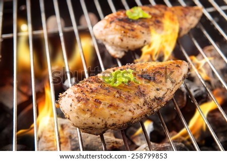 Marinated grilled chicken on the flaming grill. - stock photo