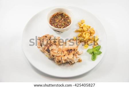 Marinated grilled healthy chicken breasts cooked  serve with tha - stock photo