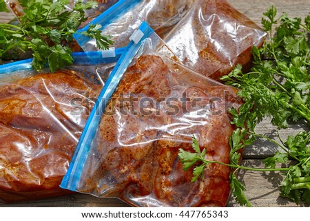 Marinated Meat pork and chicken with barbecue sauce - stock photo