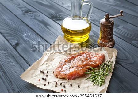 marinated pork steak - stock photo