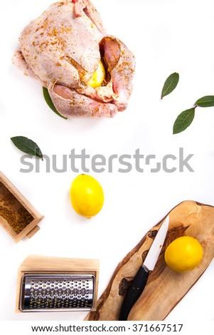marinated turkey on white background - stock photo